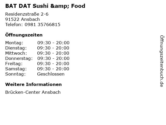 BAT DAT Sushi & Food in Ansbach: Adresse und Öffnungszeiten