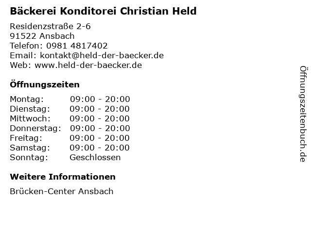 Bäckerei Konditorei Christian Held in Ansbach: Adresse und Öffnungszeiten