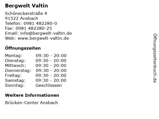 Bergwelt Valtin in Ansbach: Adresse und Öffnungszeiten