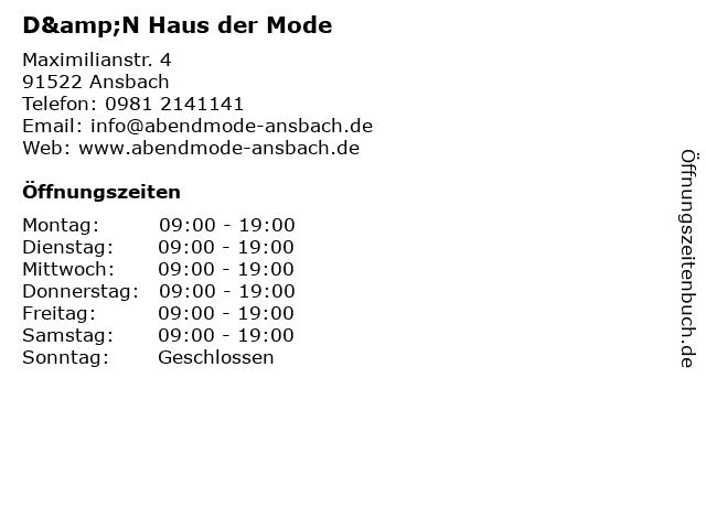 D&N Haus der Mode in Ansbach: Adresse und Öffnungszeiten