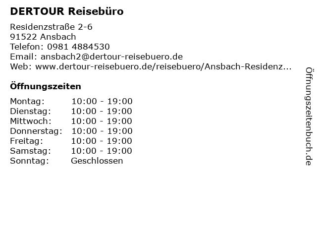 DER Deutsches Reisebüro in Ansbach: Adresse und Öffnungszeiten