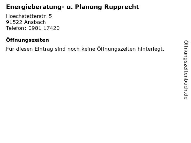 Energieberatung- u. Planung Rupprecht in Ansbach: Adresse und Öffnungszeiten