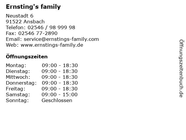 Ernsting's family in Ansbach: Adresse und Öffnungszeiten