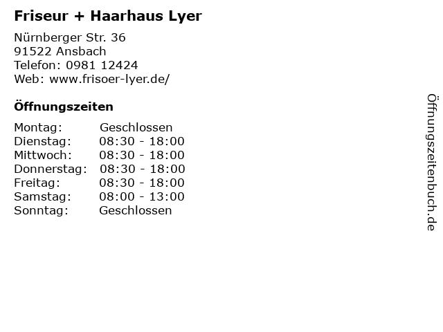 """ᐅ Öffnungszeiten """"friseur + haarhaus lyer""""   nürnberger str. 36 in"""