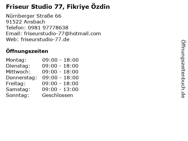 """ᐅ Öffnungszeiten """"friseur studio 77, fikriye Özdin""""   nürnberger"""