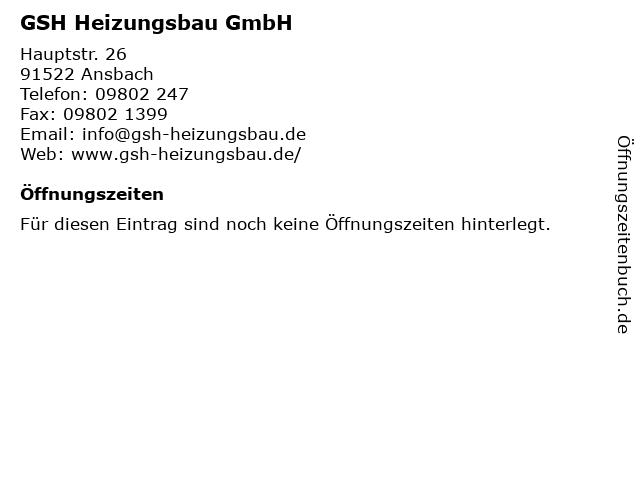 GSH Heizungsbau GmbH in Ansbach: Adresse und Öffnungszeiten