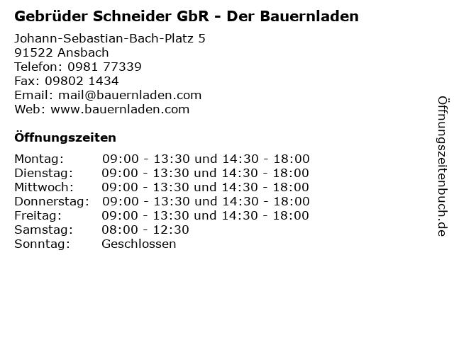 Gebrüder Schneider GbR - Der Bauernladen in Ansbach: Adresse und Öffnungszeiten