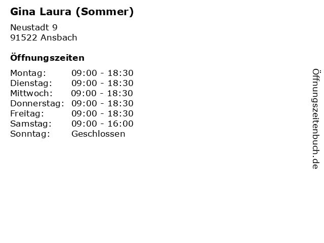 Gina Laura (Sommer) in Ansbach: Adresse und Öffnungszeiten