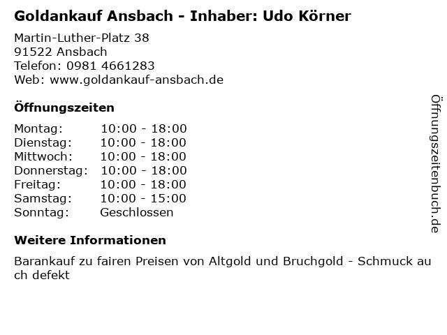 ᐅ öffnungszeiten Goldankauf Ansbach Inhaber Udo Körner