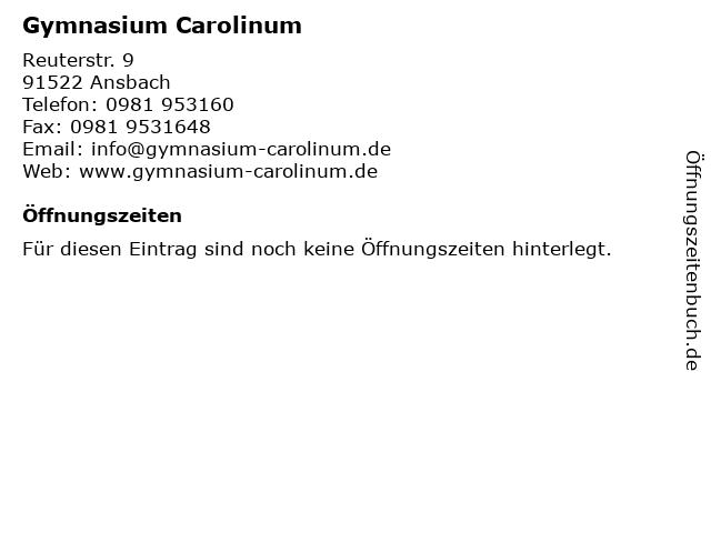 Gymnasium Carolinum in Ansbach: Adresse und Öffnungszeiten