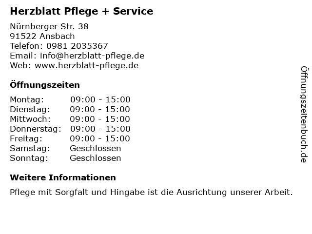 Herzblatt Pflege + Service GmbH & Co. KG in Ansbach: Adresse und Öffnungszeiten