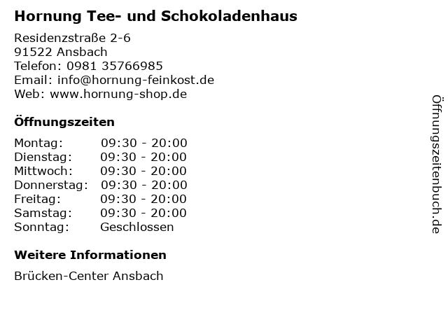 Hornung Tee- und Schokoladenhaus in Ansbach: Adresse und Öffnungszeiten