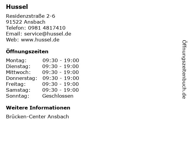 Hussel GmbH in Ansbach: Adresse und Öffnungszeiten
