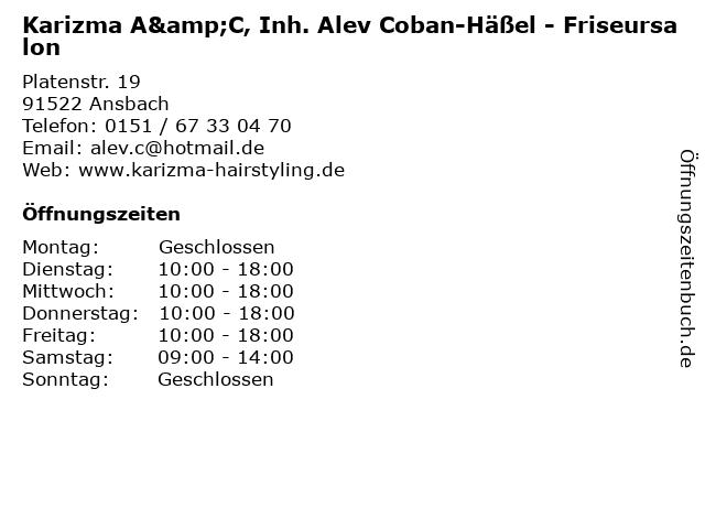 Karizma A&C, Inh. Alev Coban-Häßel - Friseursalon in Ansbach: Adresse und Öffnungszeiten