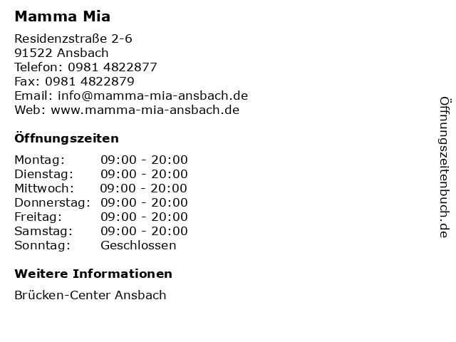 Mamma Mia in Ansbach: Adresse und Öffnungszeiten