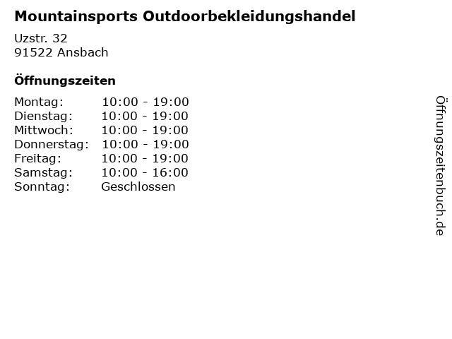 Mountainsports Outdoorbekleidungshandel in Ansbach: Adresse und Öffnungszeiten