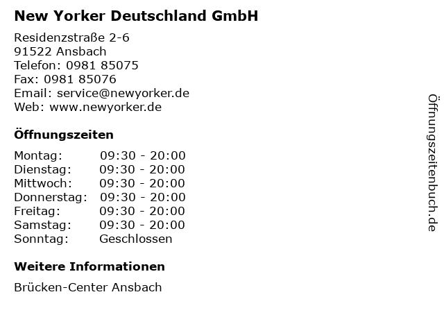 New Yorker Deutschland GmbH in Ansbach: Adresse und Öffnungszeiten