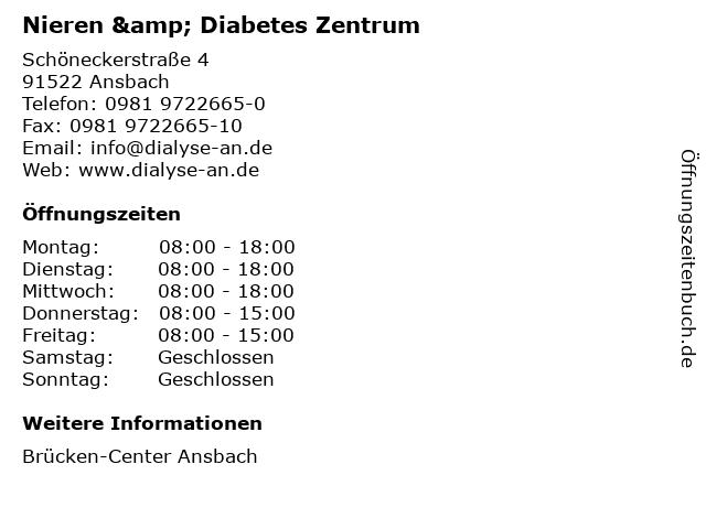 Nieren & Diabetes Zentrum in Ansbach: Adresse und Öffnungszeiten