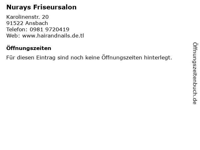 Nurays Friseursalon in Ansbach: Adresse und Öffnungszeiten