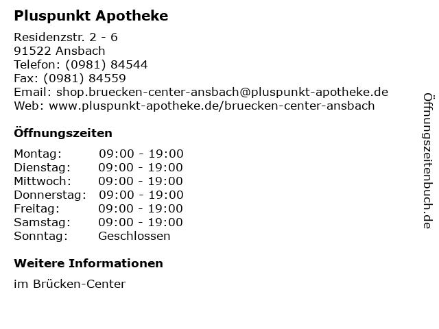 Pluspunkt-Apotheke im Brücken-Center in Ansbach: Adresse und Öffnungszeiten