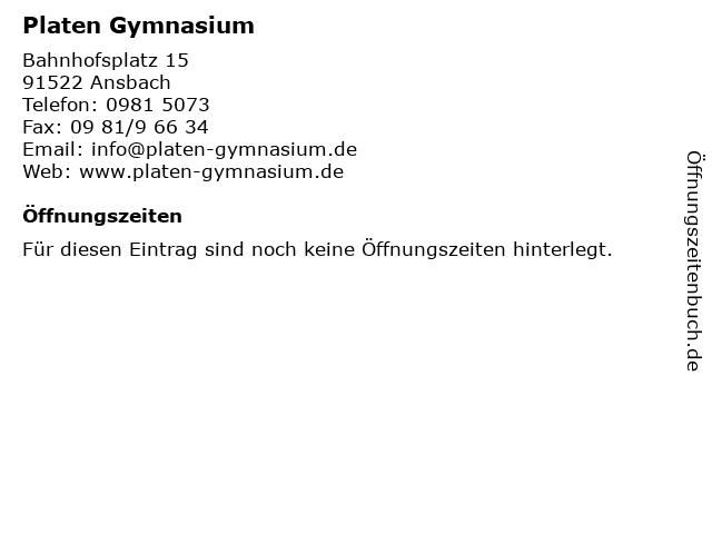 Platen Gymnasium in Ansbach: Adresse und Öffnungszeiten