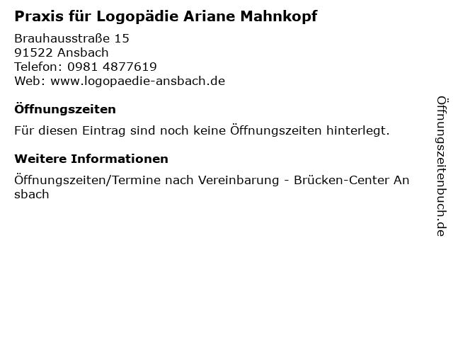 Praxis für Logopädie Ariane Mahnkopf in Ansbach: Adresse und Öffnungszeiten