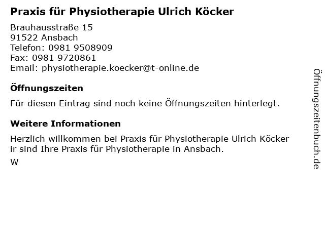 Praxis für Physiotherapie Ulrich Köcker in Ansbach: Adresse und Öffnungszeiten