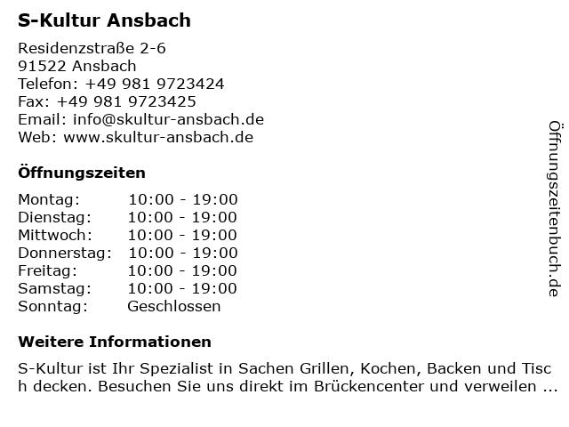 S-Kultur Ansbach in Ansbach: Adresse und Öffnungszeiten