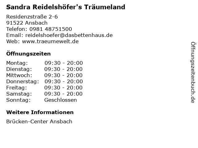 Sandra Reidelshöfer's Träumeland in Ansbach: Adresse und Öffnungszeiten