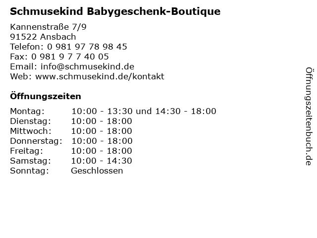 Schmusekind Babygeschenk-Boutique in Ansbach: Adresse und Öffnungszeiten