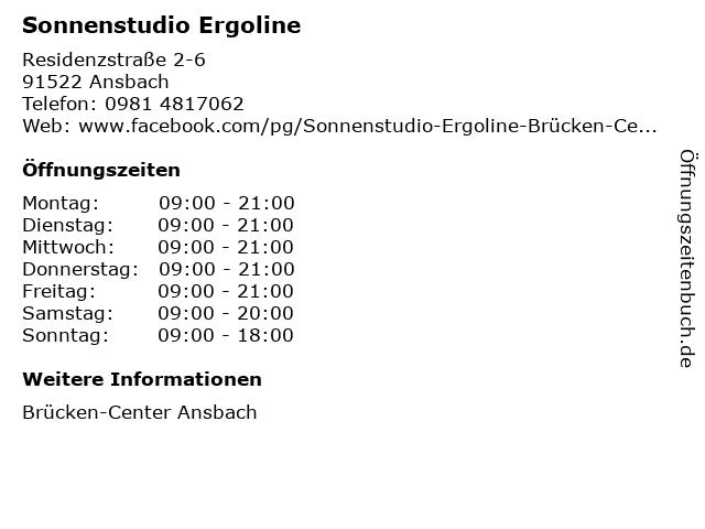 Sonnenstudio Ergoline in Ansbach: Adresse und Öffnungszeiten
