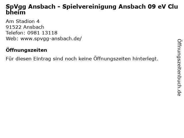 SpVgg Ansbach - Spielvereinigung Ansbach 09 eV Clubheim in Ansbach: Adresse und Öffnungszeiten