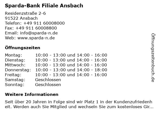 Sparda-Bank Nürnberg eG - Filiale Ansbach in Ansbach: Adresse und Öffnungszeiten