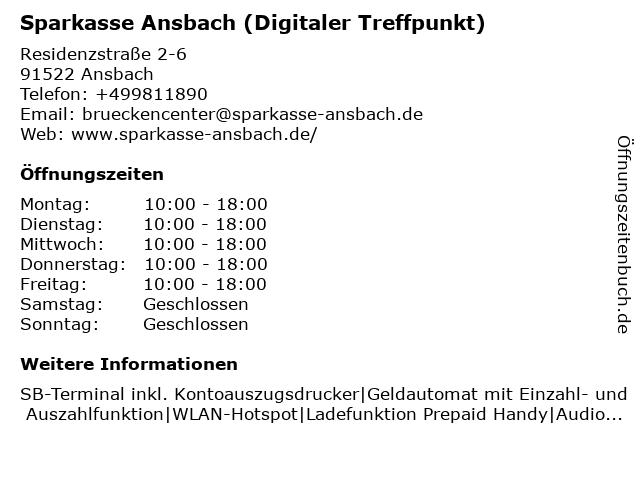 Sparkasse Ansbach (Geschäftsstelle Ansbach - Brückencenter) in Ansbach: Adresse und Öffnungszeiten