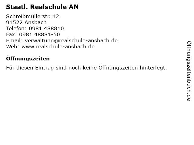 Staatl. Realschule AN in Ansbach: Adresse und Öffnungszeiten