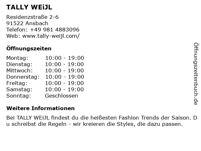 Tally Weijl Retail Germany GmbH in Ansbach: Adresse und Öffnungszeiten