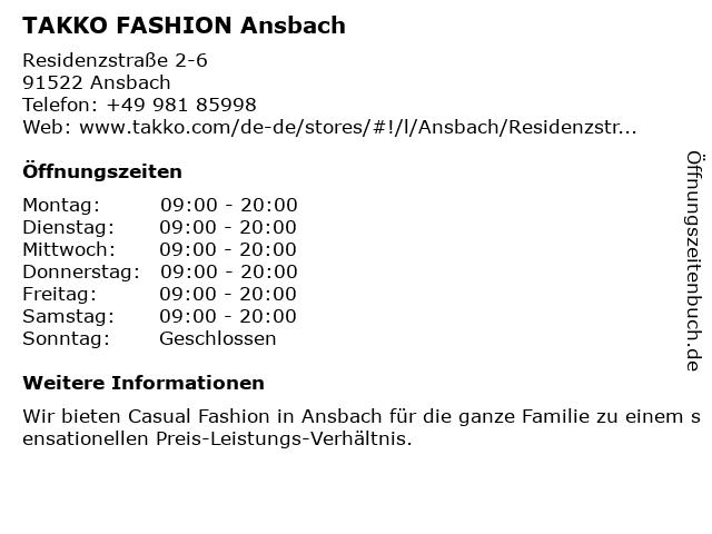 Takko Fashion in Ansbach: Adresse und Öffnungszeiten