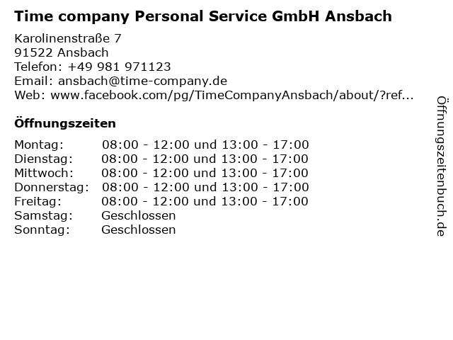 Time company Personal Service GmbH Ansbach in Ansbach: Adresse und Öffnungszeiten