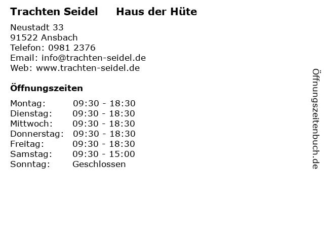 Trachten Seidel     Haus der Hüte in Ansbach: Adresse und Öffnungszeiten