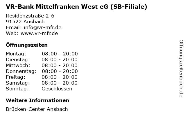 VR-Bank Mittelfranken West eG (SB-Filiale) in Ansbach: Adresse und Öffnungszeiten