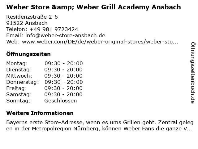 Weber Store & Weber Grill Academy Ansbach in Ansbach: Adresse und Öffnungszeiten