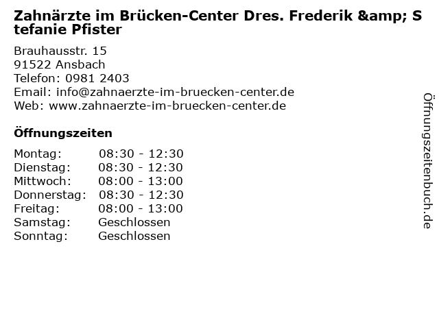 Zahnärzte im Brücken-Center in Ansbach: Adresse und Öffnungszeiten
