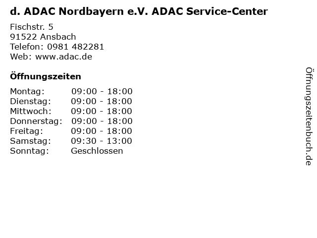 d. ADAC Nordbayern e.V. ADAC Service-Center in Ansbach: Adresse und Öffnungszeiten