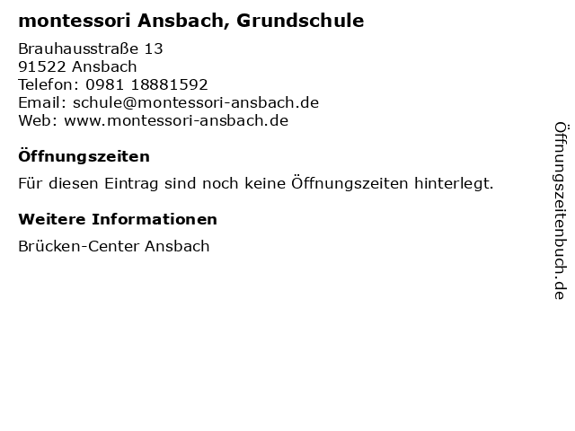 montessori Ansbach, Grundschule in Ansbach: Adresse und Öffnungszeiten