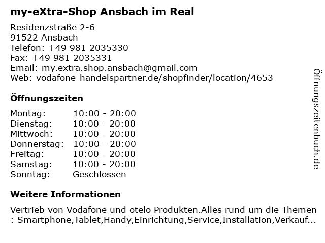 my-eXtra-Shop Ansbach im Real in Ansbach: Adresse und Öffnungszeiten