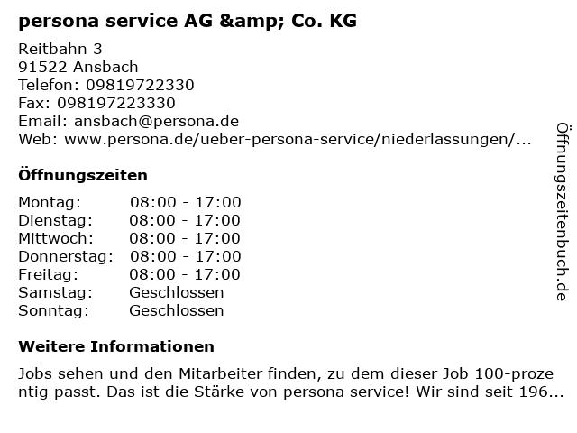 persona service AG & Co. KG in Ansbach: Adresse und Öffnungszeiten