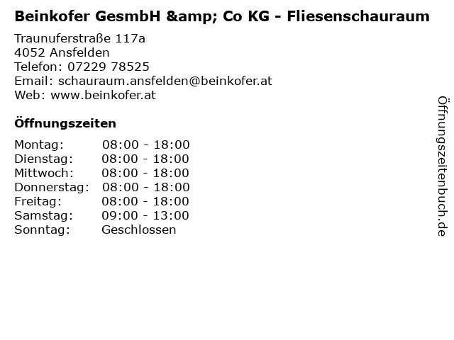 Beinkofer GesmbH & Co KG - Fliesenschauraum in Ansfelden: Adresse und Öffnungszeiten
