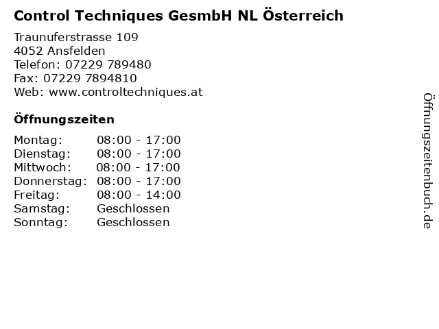 Control Techniques GesmbH NL Österreich in Ansfelden: Adresse und Öffnungszeiten