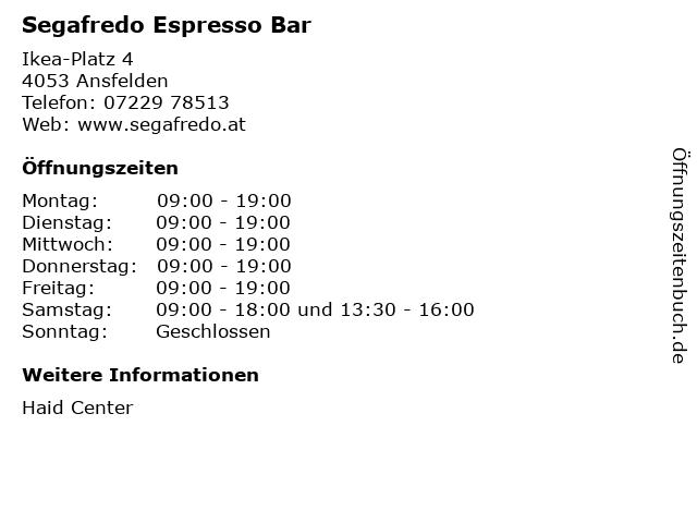 Segafredo Espresso Bar in Ansfelden: Adresse und Öffnungszeiten
