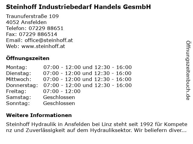 Steinhoff Industriebedarf Handels GesmbH in Ansfelden: Adresse und Öffnungszeiten